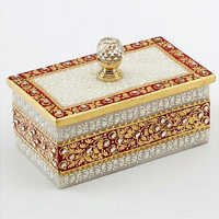Marvel in Marble - Gold Embossed Jewellery Box with Crystal Knob - 55