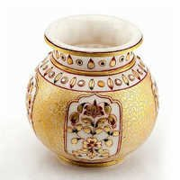Marvel in Marble - Embossed Round Vase with Gold Work - 67