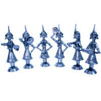 Little India White Metal Rajasthani 6 Dancing Dolls Gift -156