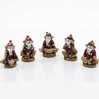 Handpainted Enamelled Metal Lord Ganapati Musician Set - 01