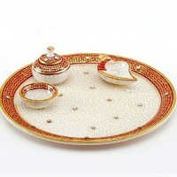 Marvel in Marble - Gold Embossed Aarti Thali - 64