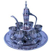 Little India White Metal Antique Royal Wine Set Handicraft -155