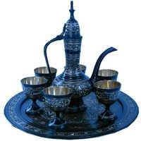 Little India Antique Royal Wine Set Black Metal Handicraft -182