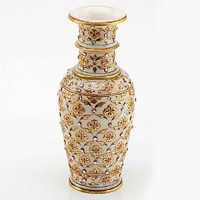 Marvel in Marble - Gold Embossed Flower vase with Kundan Work - 71