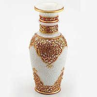 Marvel in Marble - Embossed Gold and Kundan Work Vase - 69