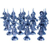 Little India Rajasthani 12 Dancing Dolls Set in White Metal 205