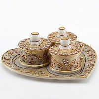 Marvel in Marble - Heart shaped Utility Tray Set with Embossed Gold - 78