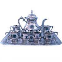 Little India Pure White Metal Meenakari Work Royal Tea Set -187