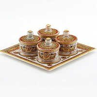 Marvel in Marble - Gold Embossed Utility Tray with Kundan and Meena Work - 80