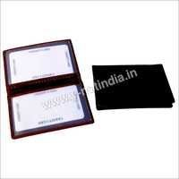 Transparent Two Window Pocket Leather  Card Case