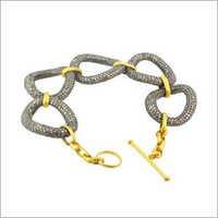 Gold Pave Diamond Silver Link Bracelet