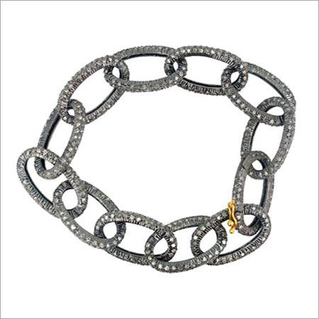 Pave Diamond Link Silver Bracelet