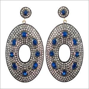 Gemstone Pave Diamond Earrings