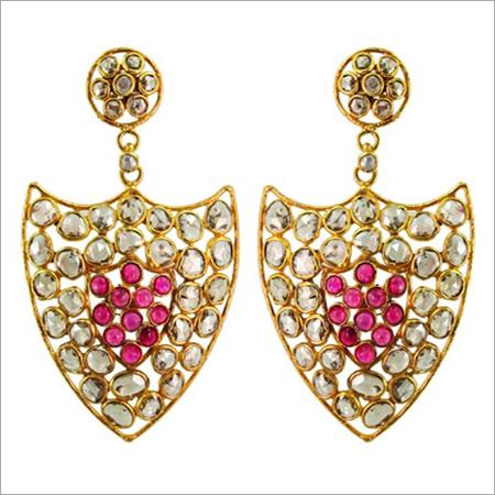 14k Gold Slice Diamond Pink Tourmaline Earrings