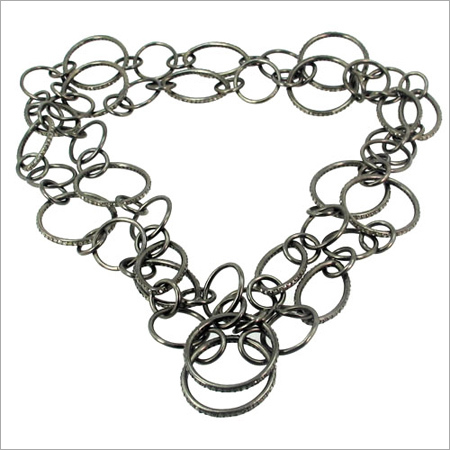 Silver Pave Diamond Link Chain Necklace