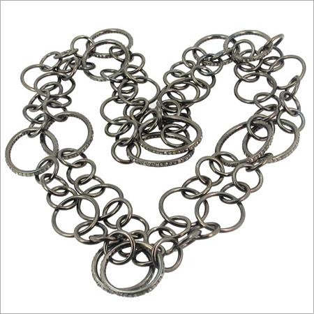 Diamond Pave Silver Chain Necklace