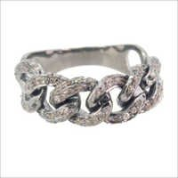 Pave Diamond Link Band Silver Ring