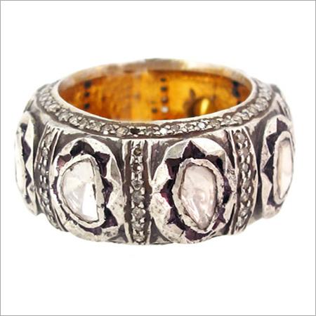 Rose Cut Diamond Vintage Eternity Band Ring