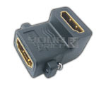 HDMI 19 Pin Female to HDMI 19 Pin Female Adaptor 90' with Screw Locking