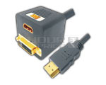 HDMI 19 Pin Male to HDMI 19 Pin Female OR DVI Female 24+1 Cord