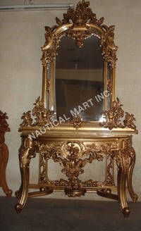 CONSOLE  LOOK BRASS POLISHED MIRROR