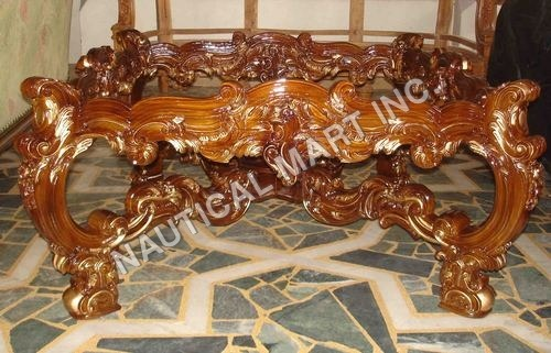 VINTAGE GLASS WOODEN TABLE
