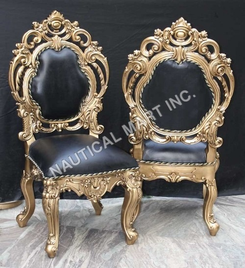 VINTAGE PAIR OF TWO  WOODEN AND LEATHER CHAIR