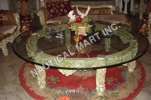 VINTAGE SINGLE ROUNDED GLASS TABLE