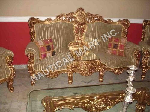 VINTAGE SET OF THREE SOFA WITH WOOD AND GLASS
