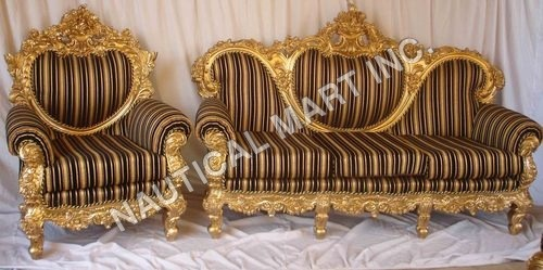 VINTAGE WOODEN GOLDEN LOOK SET OF SOFA