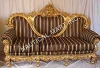 VINTAGE WOODEN GOLDEN POLISHED SOFA