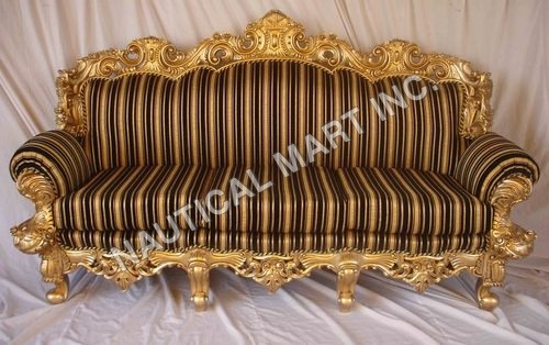 VINTAGE WOODEN GOLDEN LOOK SOFA CHAIR