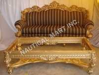 VINTAGE WOODEN GOLDEN LIVING ROOM SET