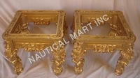 VINTAGE WOODEN GOLDEN LOOK SET OF STOOLS
