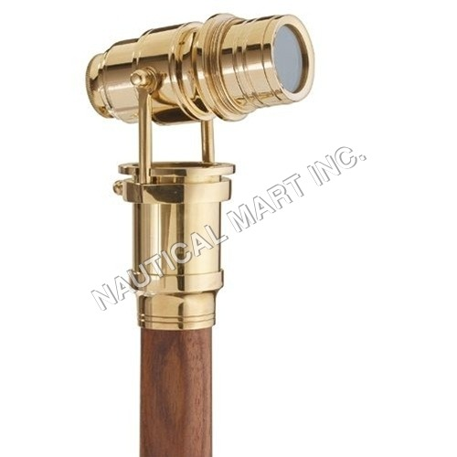 Brass Monocular With Wooden Stick