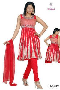 DAZZLING RED ANARKALI SUIT