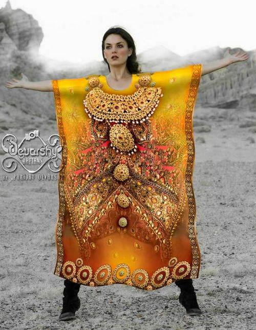 Digital Print Embellished Kaftan