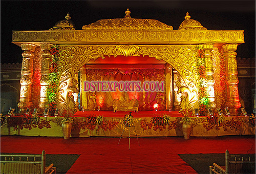 Royal Wedding Golden Carved Mandap