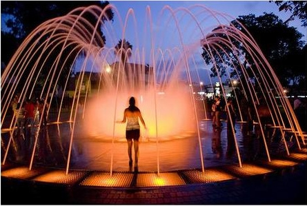 Lighted outdoor water fountain