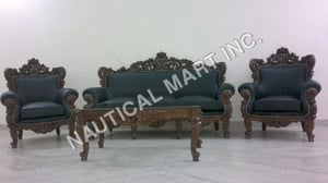 VINTAGE WOODEN SET OF SOFA AND TABLE