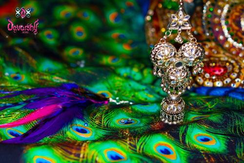 Peacock Feathers Print Designer Dress Fabric Application: Garment