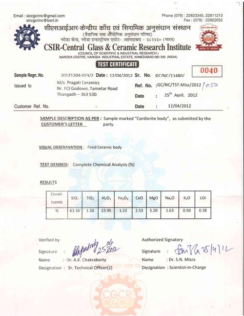 CGCRI test cert of red pipe