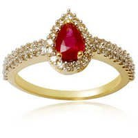 Halo style pear cut ruby diamond daily wear ring