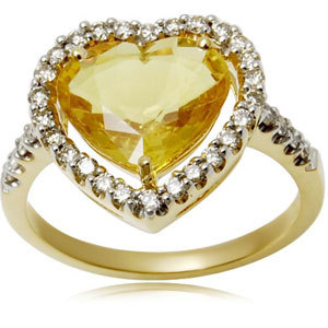 Heart Shape Yellow Sapphire Simple Gold Ring