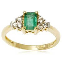 Octagon Cut Zambian Emerald and Diamond Ring