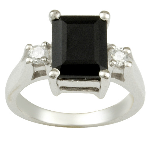 925 silver wedding ring with black stone for finger