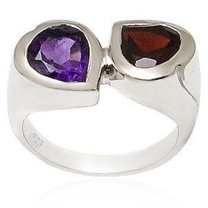 Sterling Silver Garnet Amethyst Rings