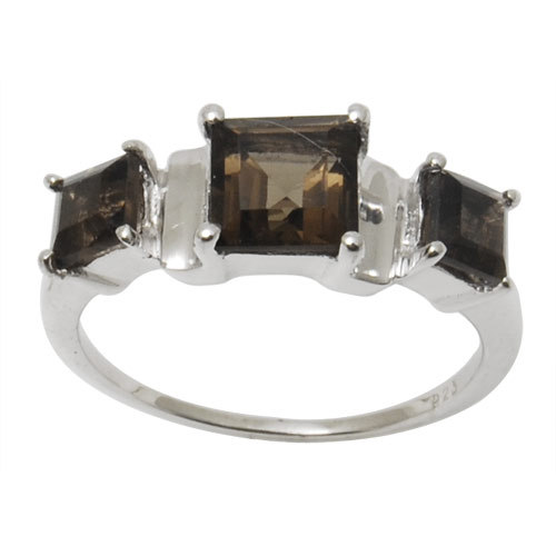 3 stone ring design square shaped smoky stone ring smoky sterling silver ring