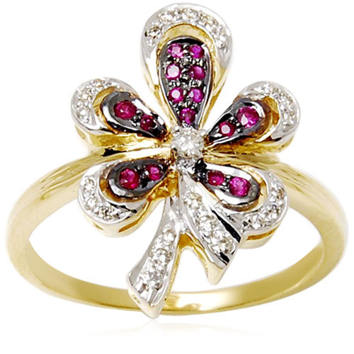 Black Rhodium Ruby Flower Diamond Studded GoldRing