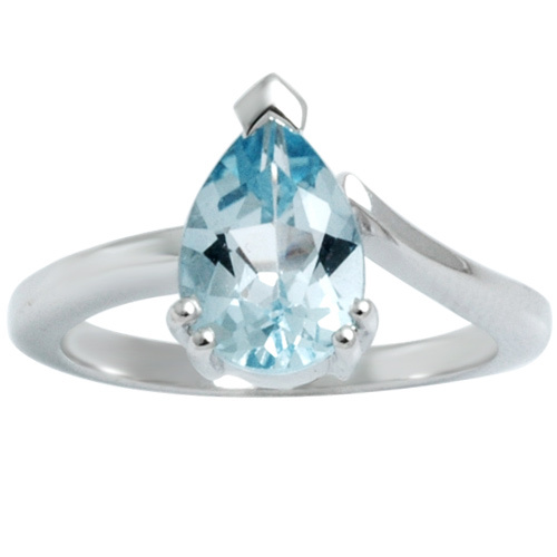 simple engagement ring deigne  pear shaped blue to